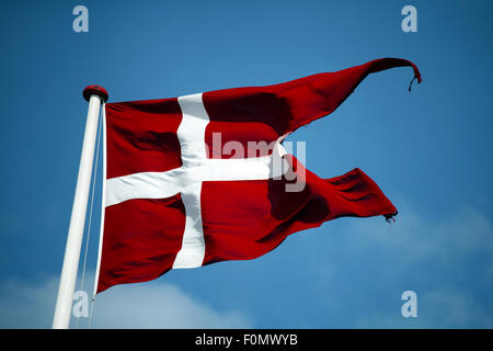 Swallowtail Dannebrog waving. The royal Danish Flag. Denmark. - Stock Photo
