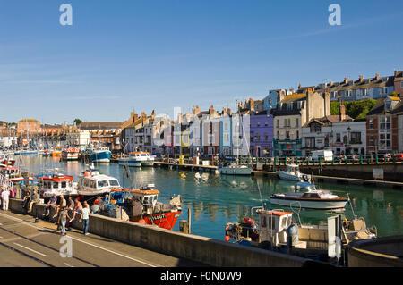 Horizontal street view of Weymouth, Dorset. - Stock Photo