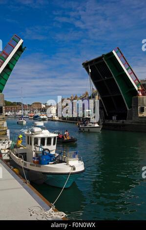 Vertical view of Town Bridge in Weymouth, Dorset. - Stock Photo