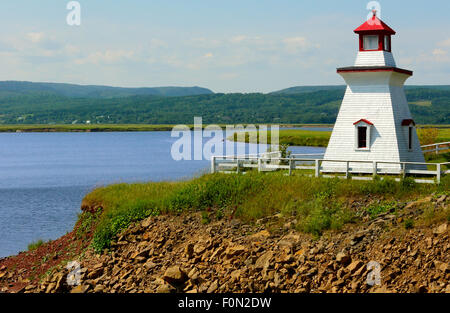 The Anderson Hollow Lighthouse on the Harvey Bank area of Mary's Point, overlooking the Shepody Bay, New Brunswick, - Stock Photo