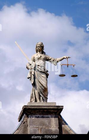Dublin, Ireland. August 18, 2015. Statue of Iustitia, Lady Justice at Dublin Castle - Stock Photo