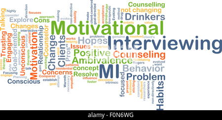 Background concept wordcloud illustration of motivational interviewing - Stock Photo