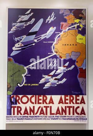 Air Italy-Brazil transatlantic cruise advertisement poster, circa 1930 - Stock Photo