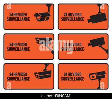 Warning set stickers for security video surveillance. - Stock Photo