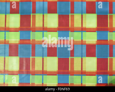 multi colored checkered tablecloth pattern texture as background - Stock Photo
