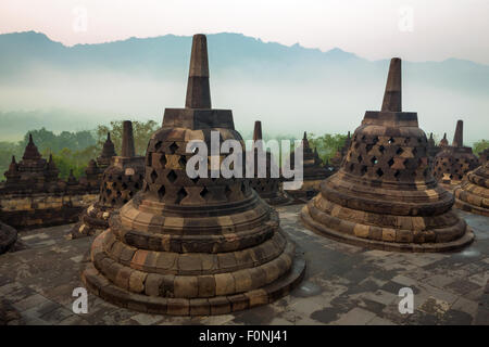 Stupa's at the Borobudur on Java, Indonesia - Stock Photo