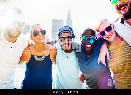 Diverse City Buildings Summer Friends Fun Concept - Stock Photo
