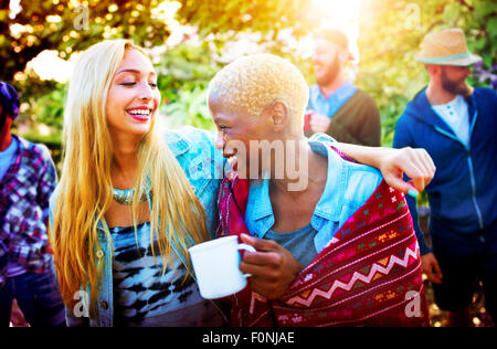 Friends Outdoors Camping Holiday Cheerful Concept - Stock Photo