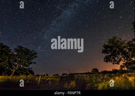Milky Way in the countryside in Northumberland, England, Great Britain, UK - Stock Photo