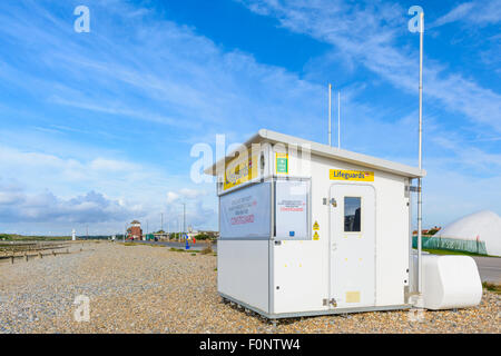 Lifeguard station on the east beach at Littlehampton, West Sussex, England, UK. - Stock Photo
