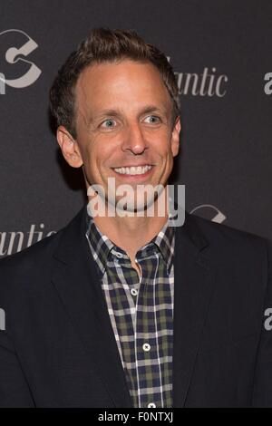 New York, NY, USA. 18th Aug, 2015. Seth Meyers at arrivals for IFC'S DOCUMENTARY NOW! Premiere, New World Stages, - Stock Photo