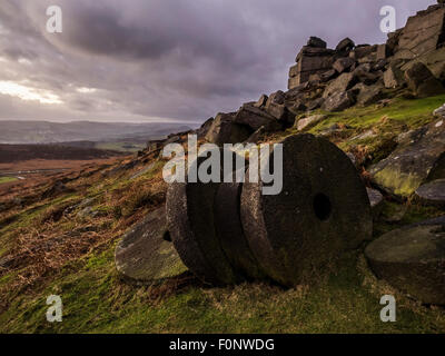 Landscape of Stanage edge in the Peak District Derbyshire England during bad weather December 2014 - Stock Photo