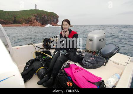 Vladivostok, Islands Verkhovsko, Primorye, Far East, Russia. 15th Oct, 2014. divewoman. Islands Verkhovskogo, Peter - Stock Photo
