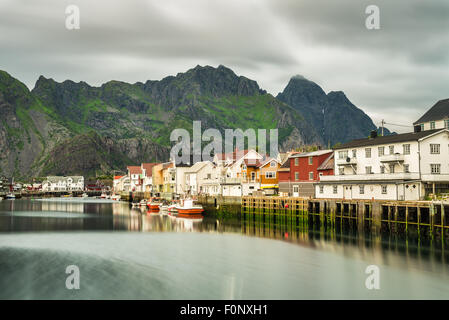 Henningsvaer,  fishing village located on several small islands  in the Lofoten archipelago, Norway. Long exposure. - Stock Photo