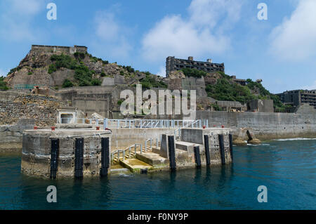 Dolphin Pier of Gunkanjima (Hashima) - Stock Photo