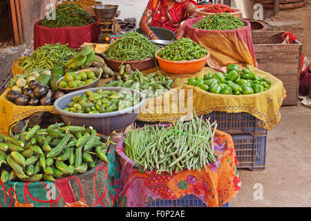 Vegetables laid out on a market stall in Rajasthan, India - Stock Photo