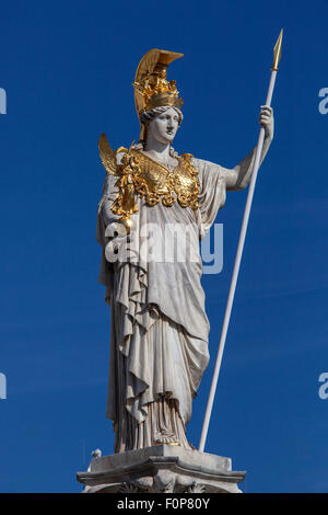 Pallas Athena statue in front of Vienna's Parliament, Vienna, Austria - Stock Photo