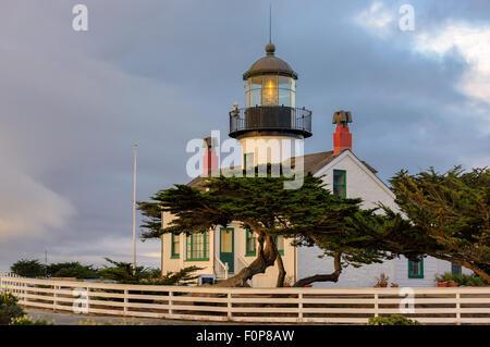 Lighthouse on the Monterey, Pacific coast., California - Stock Photo