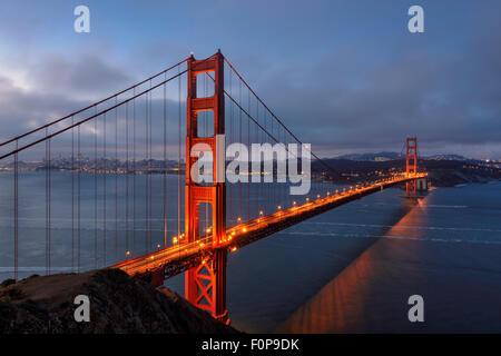 Famous Golden Gate Bridge, San Francisco at morning, USA - Stock Photo