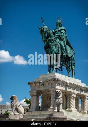 Bronze statue of Stephen I of Hungary, Fishermen's Bastion, Budapest - Stock Photo