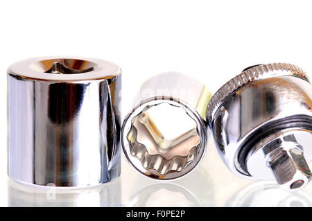 Sockets and ratchet isolated on a white background - Stock Photo
