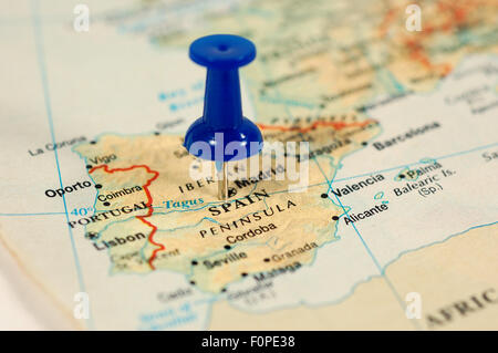Map of Spain with a blue tag - Stock Photo