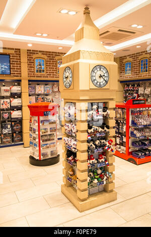 Big Ben tourist shop outlet 'Glorious Britain' gift shop. Departures Terminal, Stansted Airport,London,U.K. - Stock Photo