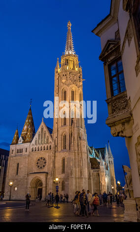 Matthias Church at Night, Budapest, Hungary - Stock Photo