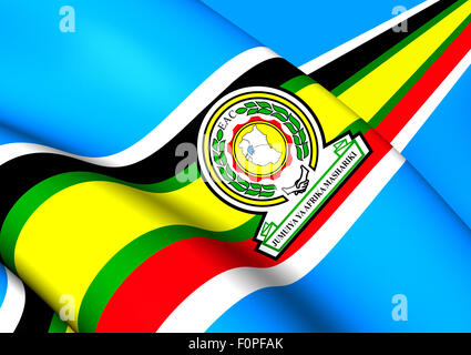East African Community 3D Flag. Close Up. - Stock Photo