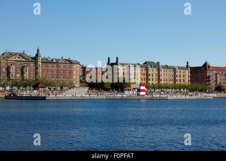 The Copenhagen Harbour Bath at Islands Brygge in the port of Copenhagen on a hot sunny summer day - Stock Photo