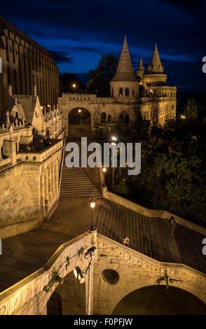 Fishermen's Bastion at night, Budapest, Hungary - Stock Photo