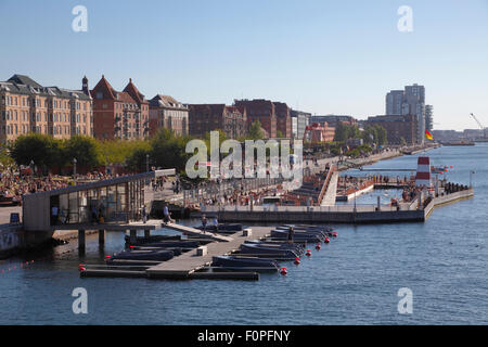GOBOAT electric boat rental and the Copenhagen Harbour Bath at Islands Brygge in the port of Copenhagen on a sunny - Stock Photo