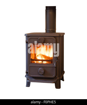 Wood burner stove isolated against a white background - Stock Photo