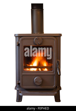 Closeup of a cosy wood burning stove - Stock Photo