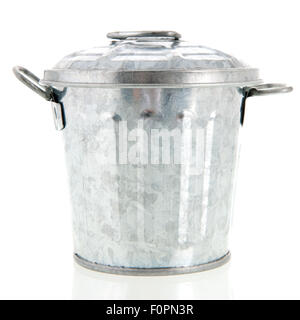 Metal trash can isolated over white background - Stock Photo