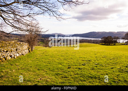 View of Lake Windermere, Lake District, Cumbria, England - Stock Photo