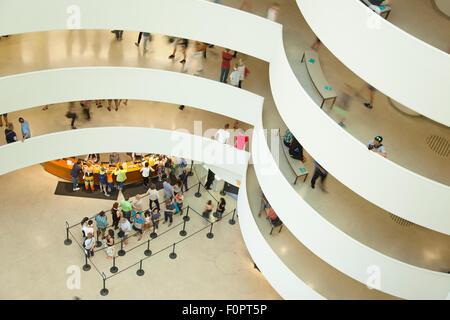 USA, New York State, New York City, Manhattan, Interior of the Solomon R Guggenheim Museum on 5th Avenue.