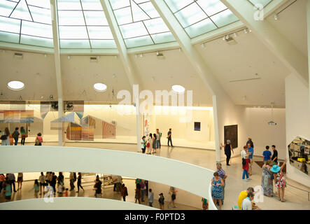 USA, New York State, New York City, Manhattan, Interior of the Solomon R Guggenheim Museum on 5th Avenue. - Stock Photo