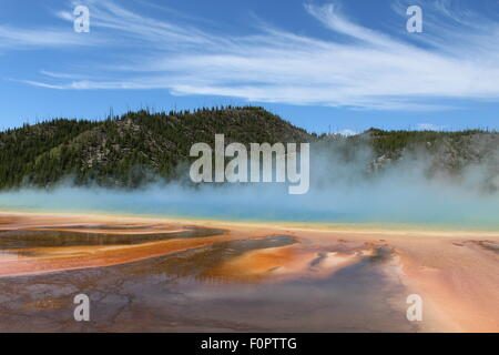 The Magnificent and Magical Grand Prismatic Spring in Midway Geyser Basin of Yellowstone National Park - Stock Photo