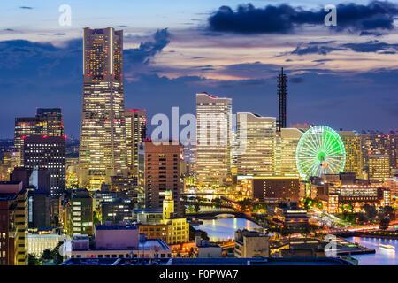 Yokohama, Japan skyline at dusk. - Stock Photo