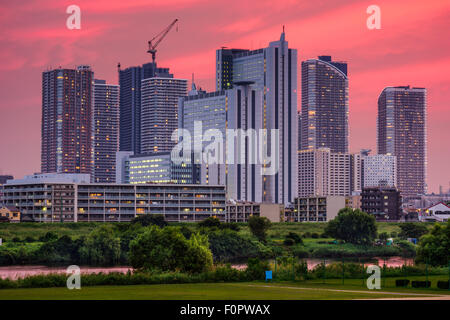 Kawasaki, Japan skyline. - Stock Photo