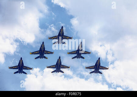 Blue Angels In Formation Flying - Stock Photo
