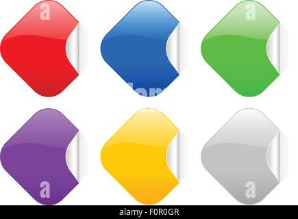 Square stickers set on a white background. Vector illustration. - Stock Photo