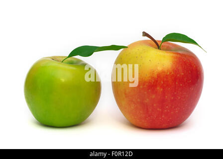 Beautiful isolated red and green apple with a leaf on a white background - Stock Photo