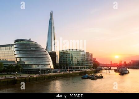 London, Shard London Bridge and London City hall at Sunset - Stock Photo