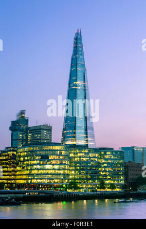 London, Shard London Bridge at Dusk - Stock Photo