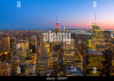 New York City, Empire State Building at Dusk - Stock Photo