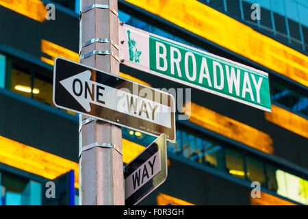 Broadway sign in Time Square, New York - Stock Photo