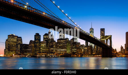 New York City, Brooklyn Bridge - Stock Photo