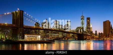 New York City, Brooklyn Bridge by night - Stock Photo
